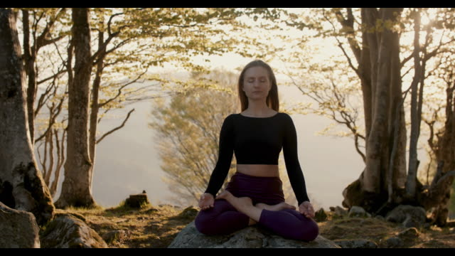 woman sitting on rock in the mountains meditating - lotus position stock videos & royalty-free footage