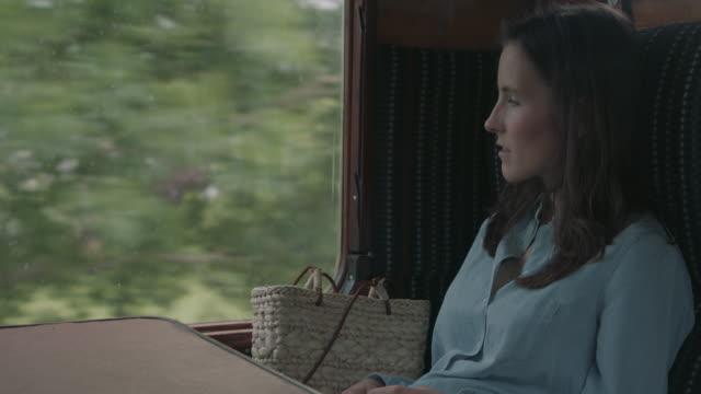 vidéos et rushes de woman sitting on seat in train - passenger train