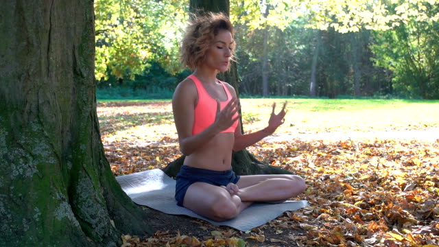 stockvideo's en b-roll-footage met woman sitting on the grass in park and meditating - lotuspositie