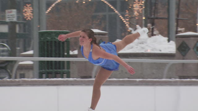 a woman skating at a busy rink - see other clips from this shoot 1145 stock videos & royalty-free footage