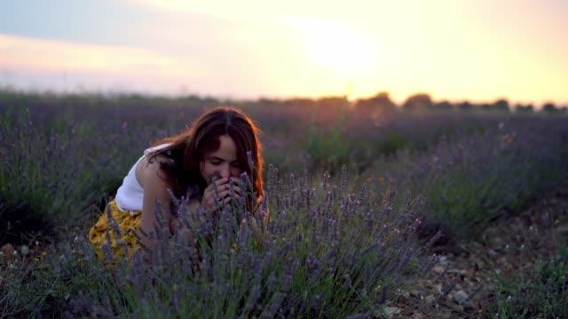 プロヴァンスのフィールドでラベンダーの花の匂いを嗅ぐ女性 - アロマ点の映像素材/bロール
