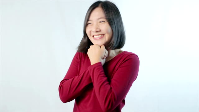 Woman smile on White back ground