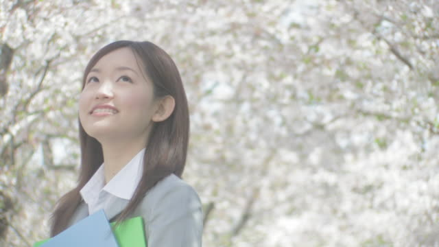 Woman smiling under cherry blossoms