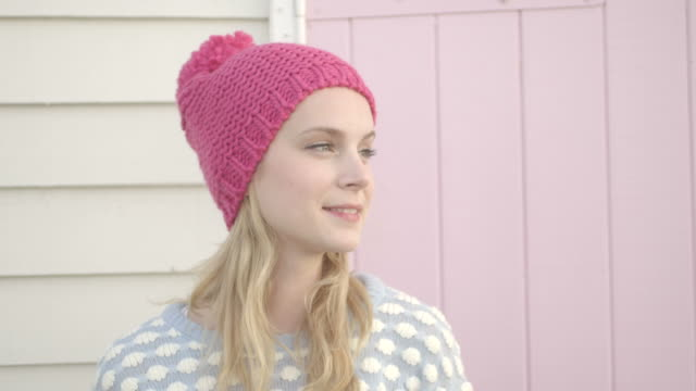 woman smiling - woolly hat stock videos and b-roll footage