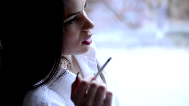 woman smoking - cigarette stock videos & royalty-free footage