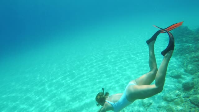 ms woman snorkeling underwater in blue ocean - swimming goggles stock videos & royalty-free footage