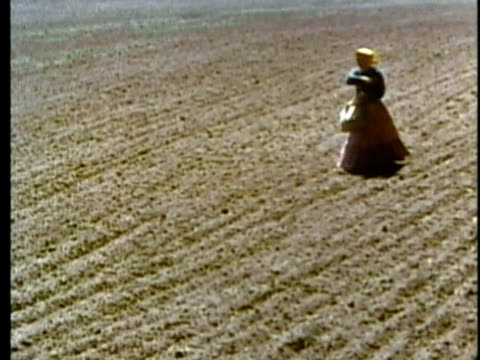 1963 reenactment montage woman sowing seeds in field; man using scythe in field / 1820s texas / audio - reenactment stock videos & royalty-free footage