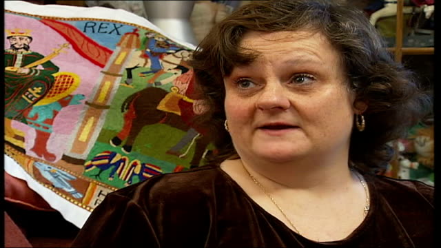 woman spends 20 years recreating the bayeux tapestry annette banks interview sot on how people would buy her sewing materials for christmas - tapestry stock videos & royalty-free footage
