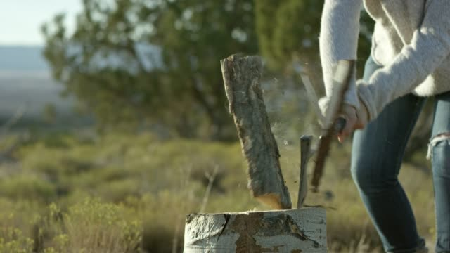 a woman splits firewood with a hatchet - firewood stock videos & royalty-free footage