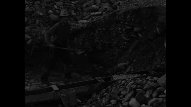 vídeos de stock, filmes e b-roll de woman squats and pans for gold in stream while little boy climbs on rocks / several men digging, panning and otherwise looking for gold in stream /... - ouro metal