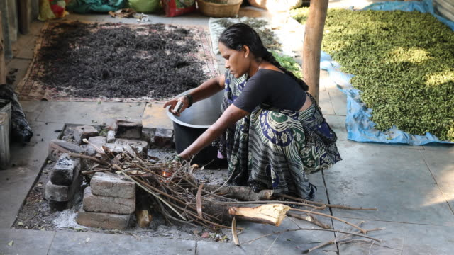 A woman squatted at the ground initiating fire at an outdoor hearth and crops lying on big sheets to dry in the background in a rural village in...