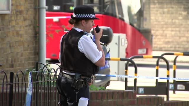 woman stabbed in chest on caledonian road; england: london: islington: caledonian road / bryan street: ext various of crime scene where woman was... - street name sign stock videos & royalty-free footage