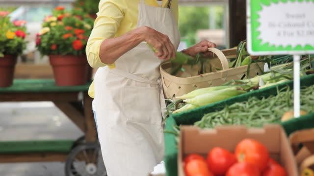 MS TU PAN Woman stacking corn at farmer's market, Richmond, Virginia, USA