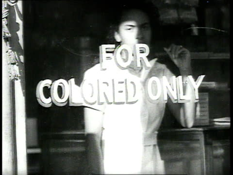 woman standing behind window of booker-t lunch restaurant, the sign reading for colored only, then turning and walking away / richmond, virginia, usa - separation stock videos & royalty-free footage