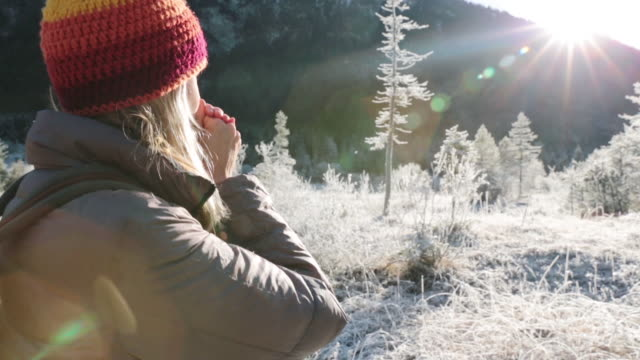 woman standing in the mountains drinking a hot tea - karwendel mountains stock videos and b-roll footage
