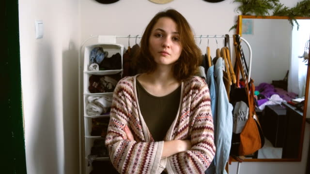 woman standing near the closet - wardrobe stock videos & royalty-free footage