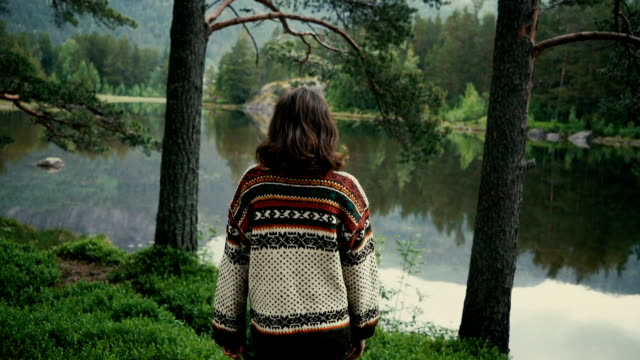woman standing near the lake in forest in norway - lake stock videos & royalty-free footage