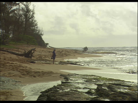 woman standing on sandy beach - see other clips from this shoot 1158 stock videos & royalty-free footage