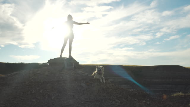 woman stands in freedom pose on mountain top - mountain pose stock videos & royalty-free footage