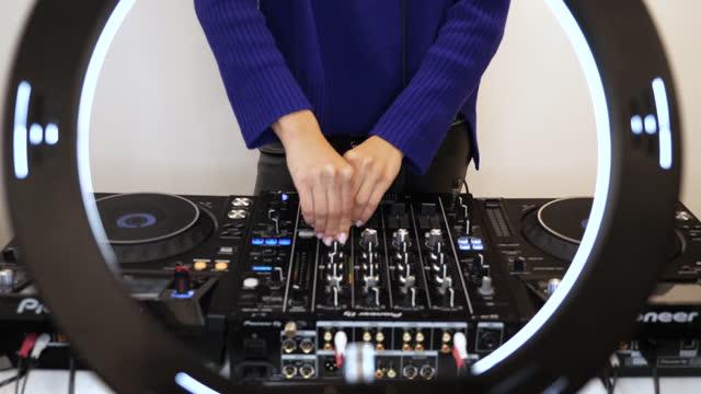 woman streaming dj set online - music stock videos & royalty-free footage