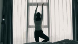 Woman streching in the morning