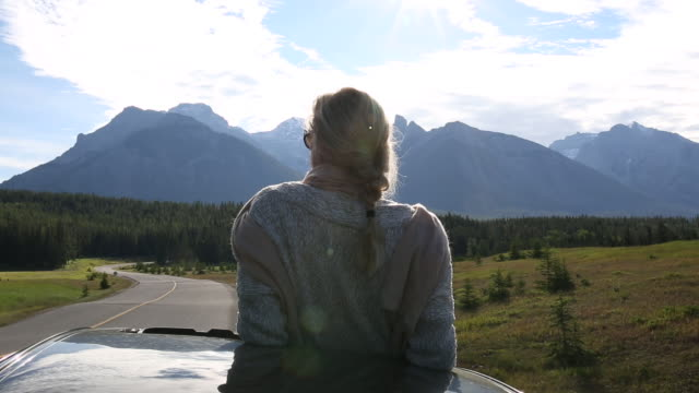 Woman stretches from car's sunroof, looks across meadow and road