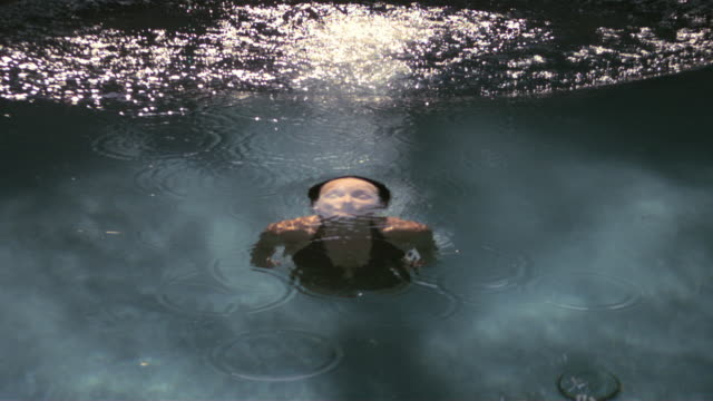 SLO MO MS Woman surfacing from water/ California, USA