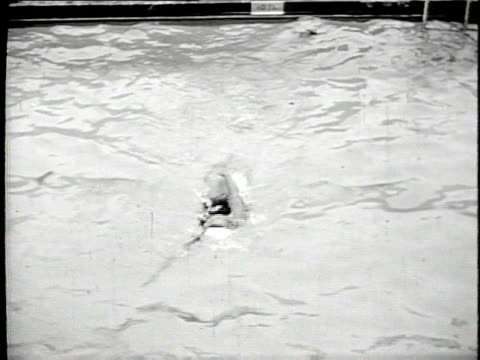 woman swimming backstroke in pool on july 10, 1948 in chicago, illinois - backstroke stock videos & royalty-free footage