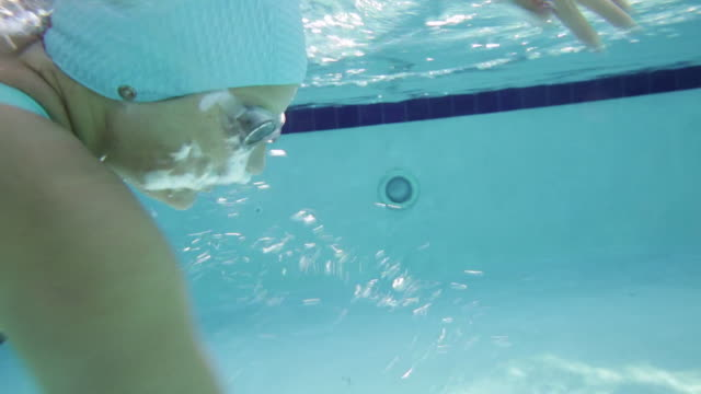cu ts woman swimming front crawl in pool. - swimming cap stock videos and b-roll footage