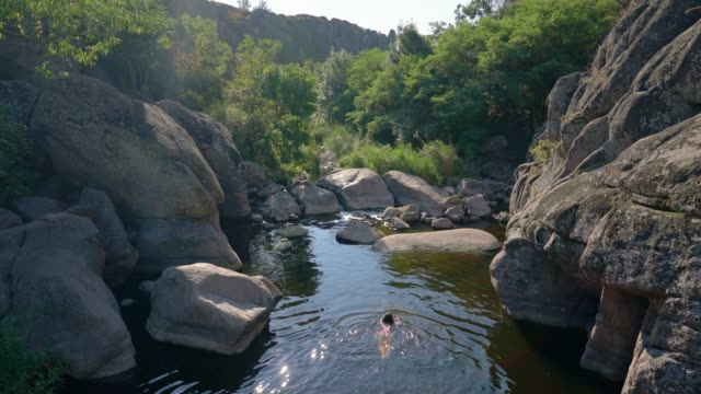 woman swimming in river in summer - river stock videos & royalty-free footage