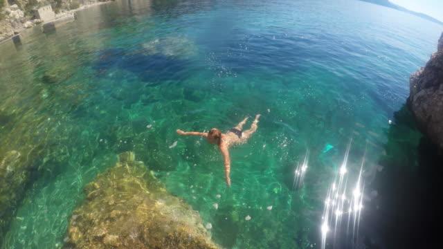 WS Woman swimming in the sea