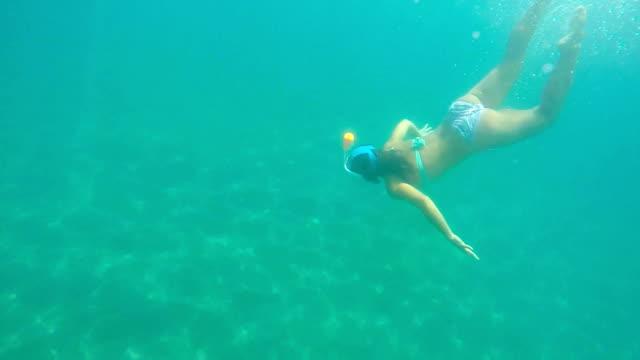 frau schwimmen unter wasser - riff stock-videos und b-roll-filmmaterial