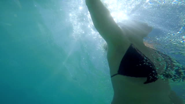 Woman swimming,underwater shoot,low view angle