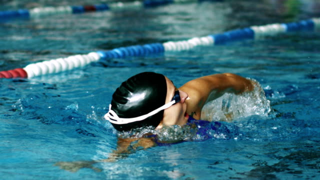 Woman swims front crawl style