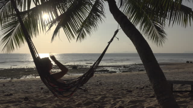 vidéos et rushes de a woman swing in hammock on beach at sunset - palmier