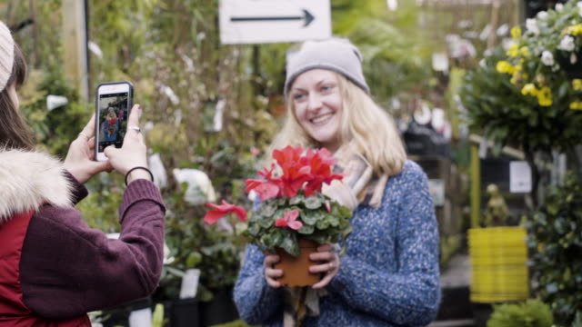 woman takes photo of female friend holding a cyclamen plant in garden center. - market stall stock videos & royalty-free footage