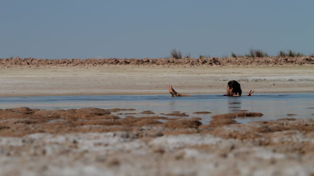 MS Woman taking bath in very salty water and gives peace sign amused by floating / Laguna Chaxa, Atacama desert, Chile