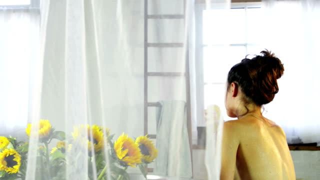 woman taking bath - domestic bathroom stock videos & royalty-free footage