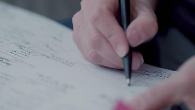 vidéos et rushes de woman taking notes - carnet