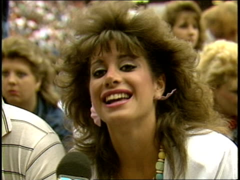 woman talks about being proud to be at a bruce springsteen concert - 1985 stock videos & royalty-free footage