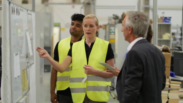 woman team leader explaining to her bosses - sicherheit stock-videos und b-roll-filmmaterial