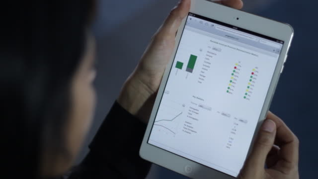 woman touching tablet - bar graph stock videos & royalty-free footage