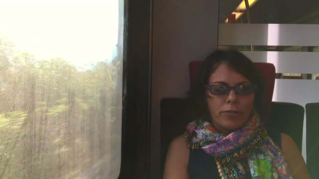 woman travel in a train and talking and enjoy the view over alpine lake with sunshine - interno di treno video stock e b–roll