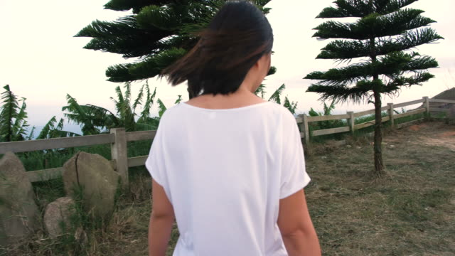 woman traveler in nature - white shirt stock videos & royalty-free footage