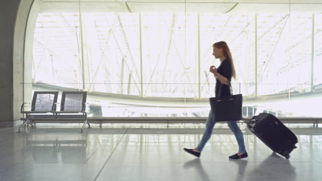 woman traveler with luggage walking through airport terminal - hobby video stock e b–roll