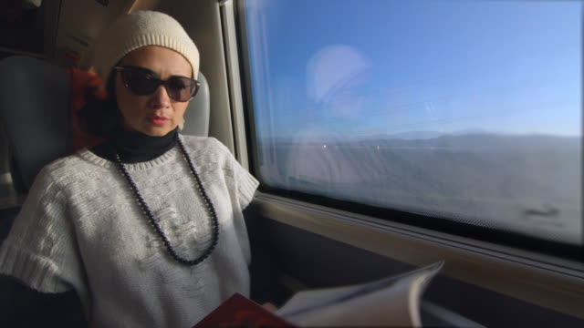 Woman traveling by train reading a magazine