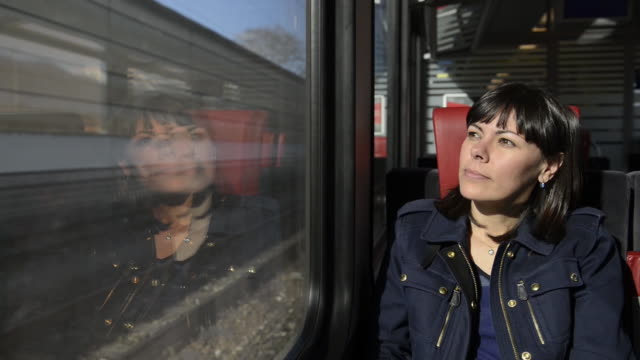 Woman traveling in a train