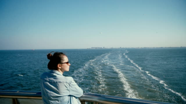 woman traveling on ferry - ferry stock videos & royalty-free footage