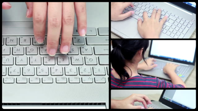 montage loop :woman typing at keyboard - montage stock videos & royalty-free footage