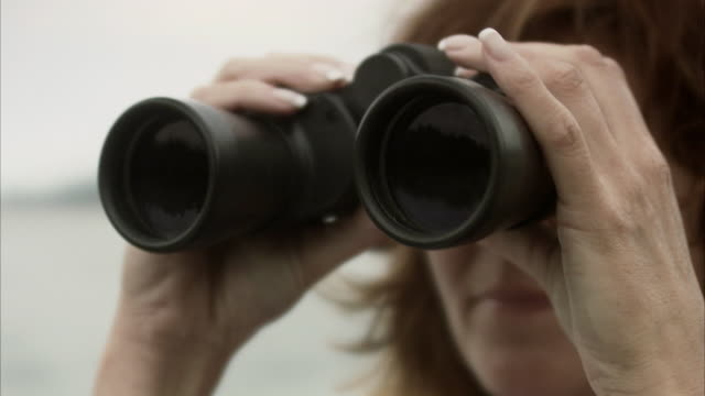 a woman using a pair of binoculars stockholm archipelago sweden. - binoculars stock videos & royalty-free footage